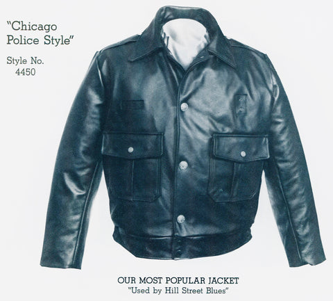 hill street blues leather jacket, vintage chicago leather police jacket