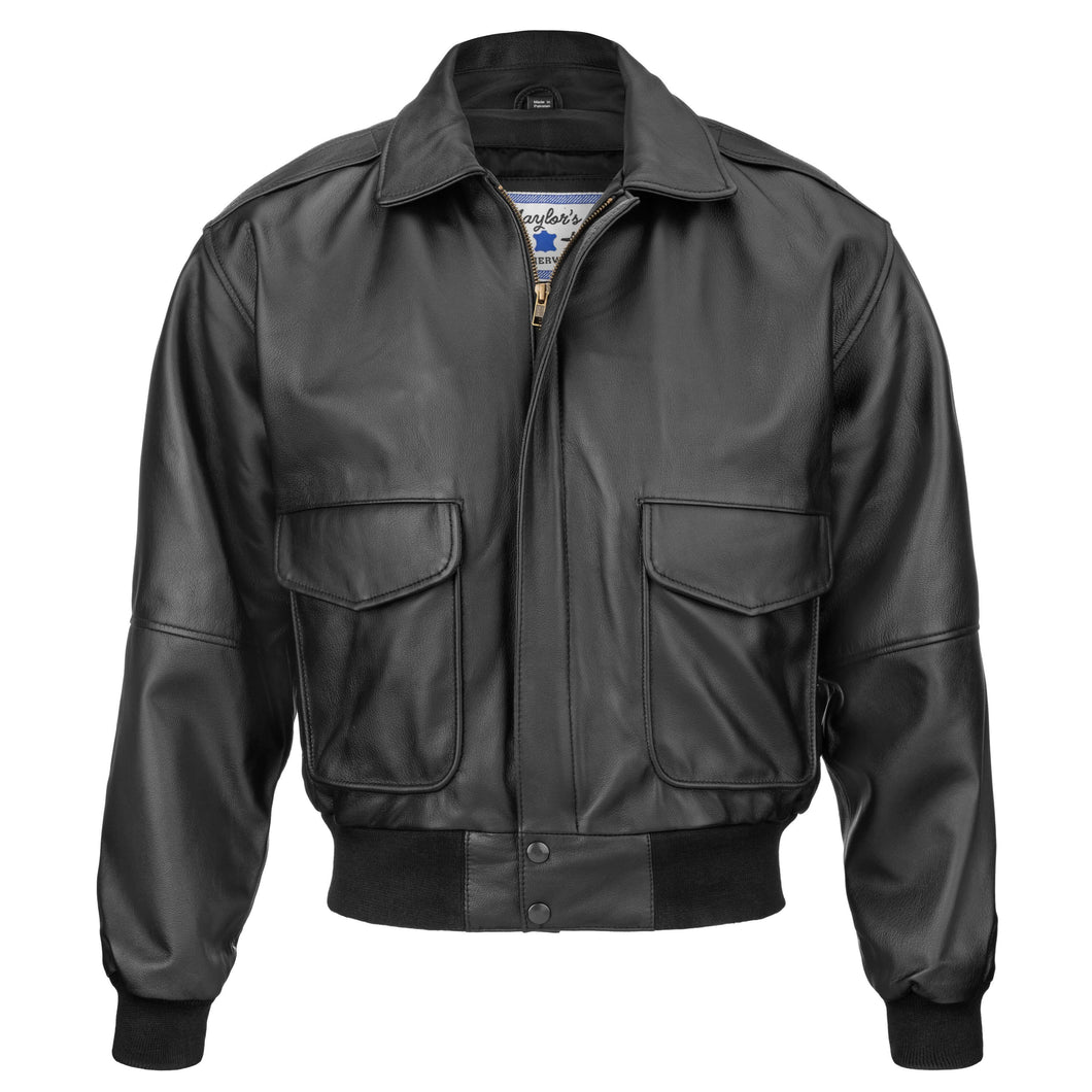 N143 Vintage Bomber Style Goatskin Leather Flight Jacket (Black or Brown)