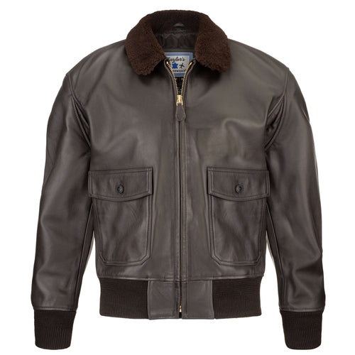 G-1 Brown Goatskin Leather Bomber Jacket
