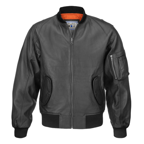 MA-1 Black Sheepskin Leather Flight Jacket