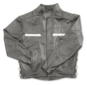 taylors leatherwear air vent black leather cowhide motorcycle jacket with reflective panels and side laces