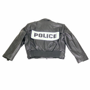 atlanta police leather jacket black goatskin taylors leather Back flat