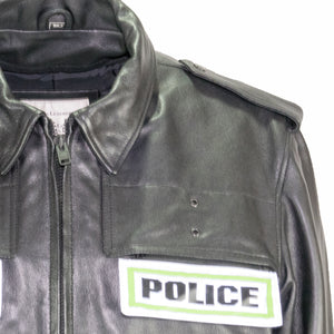 atlanta police leather jacket taylor leather badge holder detail