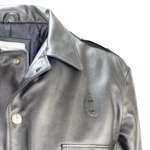VINTAGE CHICAGO LEATHER POLICE JACKET SHOULDER VIEW TAYLOR LEATHER