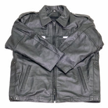 Load image into Gallery viewer, NEWARK POLICE REFLECTIVE LEATHER UNIFORM JACKET FRONT FLAT