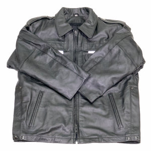 NEWARK POLICE REFLECTIVE LEATHER UNIFORM JACKET FRONT FLAT