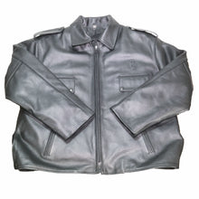 Load image into Gallery viewer, BOSTON POLICE LEATHER JACKET FRONT FLAT TAYLORS LEATHERWEAR