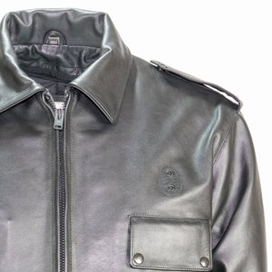 BOSTON POLICE LEATHER JACKET FRONT DETAIL
