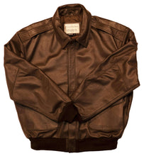 Load image into Gallery viewer, A2 Brown Goatskin Vintage Style Bomber Jacket