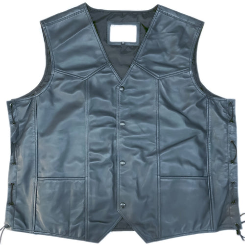 Leather Motorcycle Vest Midnight Navy Blue