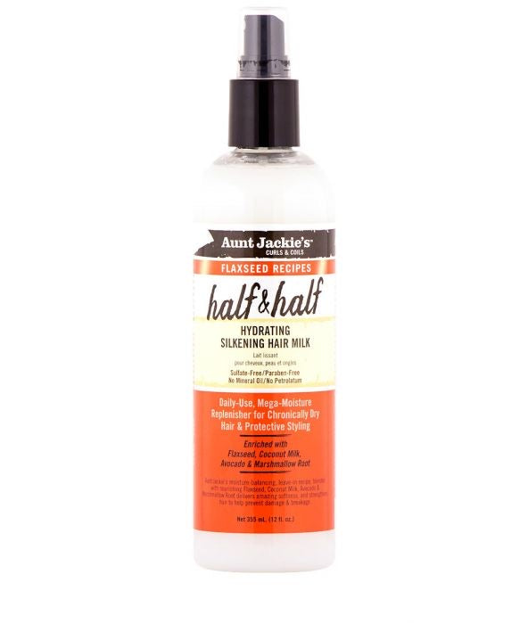 AUNT JACKIE'S FLAXSEED RECIPES HALF & HALF HYDRATING SILKENING HAIR MILK