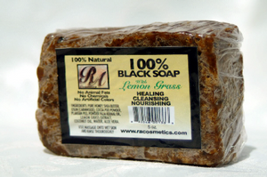 RA COSMETICS 100% AFRICAN BLACK SOAP (LEMONGRASS)
