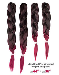 "X-PRESSION PRE-STRETCHED OMBRE BRAIDING EXTENSIONS (36"",44"")"