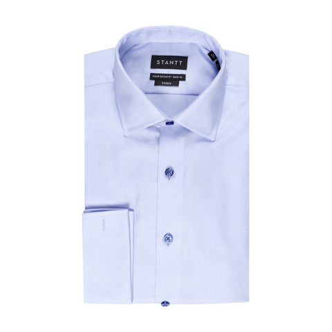 STANTT WRINKLE RESISTANT BLUE DOBBY FRENCH CUFF DRESS SHIRT