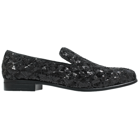 STACY ADAMS BLACK SEQUINED FORMAL SLIPPER