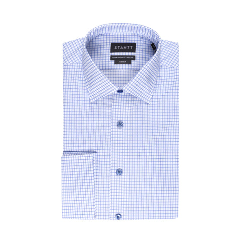 STANTT WRINKLE RESISTANT BLUE GRID CHECK FRENCH CUFF DRESS SHIRT