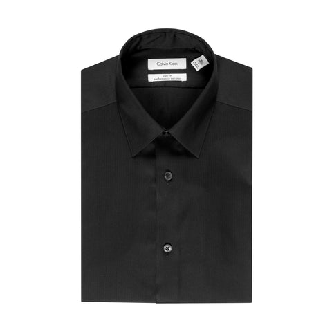 CALVIN KLEIN NON-IRON REGULAR FIT BLACK DRESS SHIRT