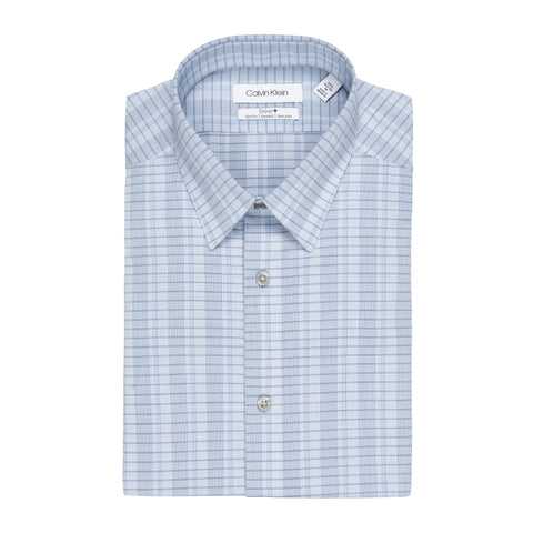 CALVIN KLEIN COTTON STRETCH SLIM FIT PLAID DRESS SHIRT