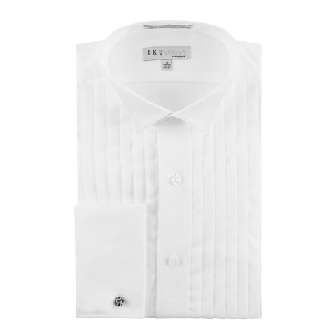 IKE BEHAR WING COLLAR PLEATED TUXEDO SHIRT