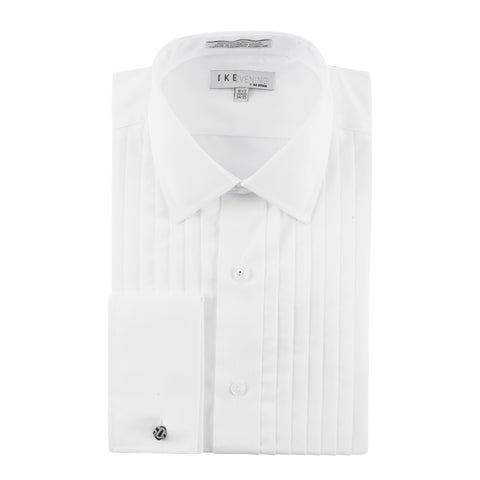 IKE BEHAR SPREAD COLLAR PLEATED TUXEDO SHIRT