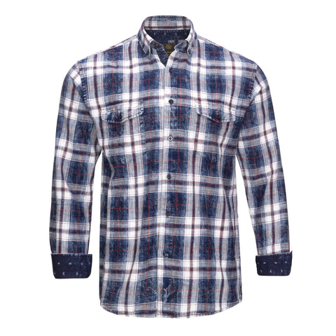 F/X FUSION COTTON ENZYME WASHED RED PLAID SHIRT
