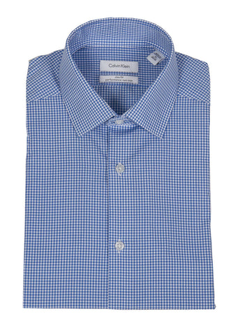 CALVIN KLEIN STEEL SLIM FIT NON IRON CHECK DRESS SHIRT