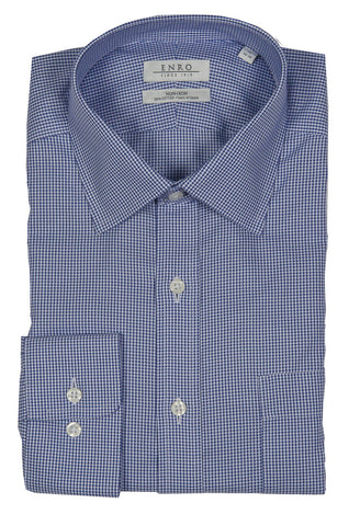 ENRO NON-IRON BLUE HOUNDSTOOTH DRESS SHIRT