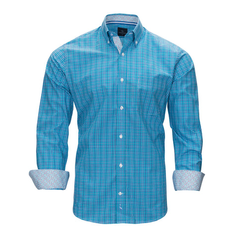 TAILORBYRD AQUA PLAID SHIRT