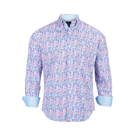 TAILORBYRD BLUE MINI FLORAL SHIRT