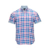 TAILORBYRD SHORT SLEEVE BUTTON DOWN PINK BLUE PLAID SPORT SHIRT