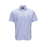 TAILORBYRD SHORT SLEEVE SPREAD COLLAR BLUE WINDOWPANE CHECK SPORT SHIRT