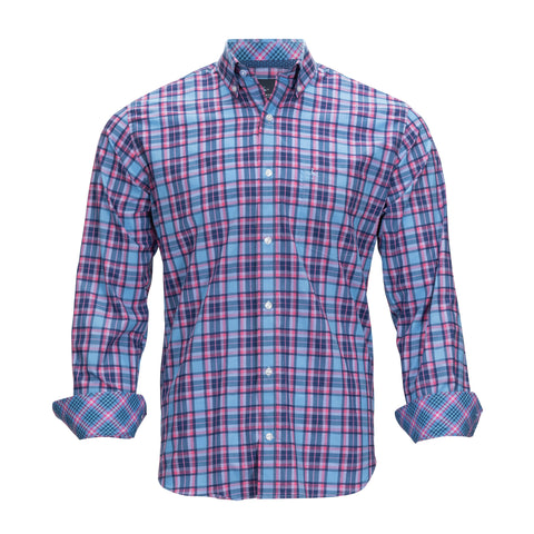 TAILORBYRD BLUE/PINK PLAID SHIRT