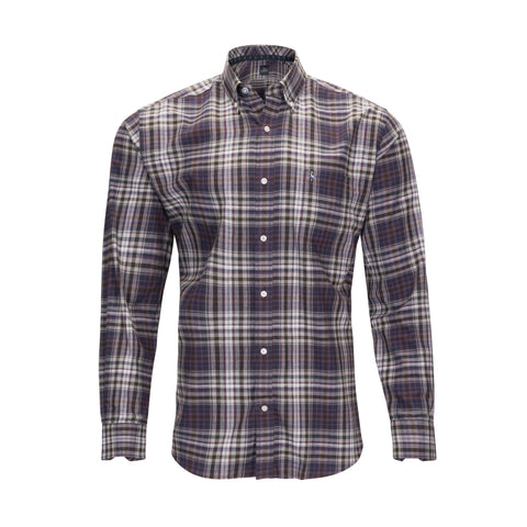 TAILORBYRD BROWN PLAID BRUSHED COTTON SHIRT