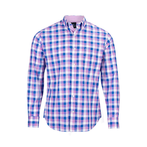 TAILORBYRD PURPLE/BLUE CHECK SHIRT