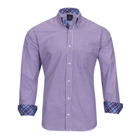 TAILORBYRD PURPLE GINGHAM SHIRT