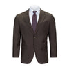 MAX DAVOLI BROWN WOOL SHARKSKIN SUIT