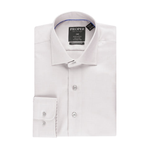 PROPER COTTON WRINKLE-FREE COTTON GREY CHECK DRESS SHIRT