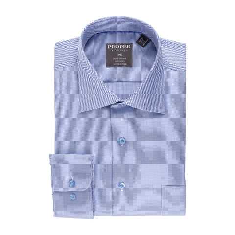 PROPER COTTON WRINKLE-FREE COTTON HOUNDSTOOTH CHECK DRESS SHIRT