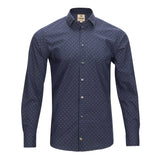 TREND SLIM FIT COTTON NAVY MICRO GEO SHIRT