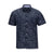 VISITOR LINEN AND COTTON BLEND NAVY LEAF PRINT SHORT SLEEVE SHIRT