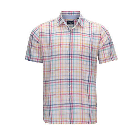 VISITOR LINEN AND COTTON BLEND PLAID SHORT SLEEVE SHIRT