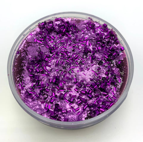 Grape Jelly Jar- A purple grape scented jelly slime with bingsu beads, fimo slices, and glitter