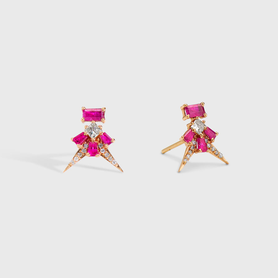 Uditi Ruby and Diamond Studs Earrings