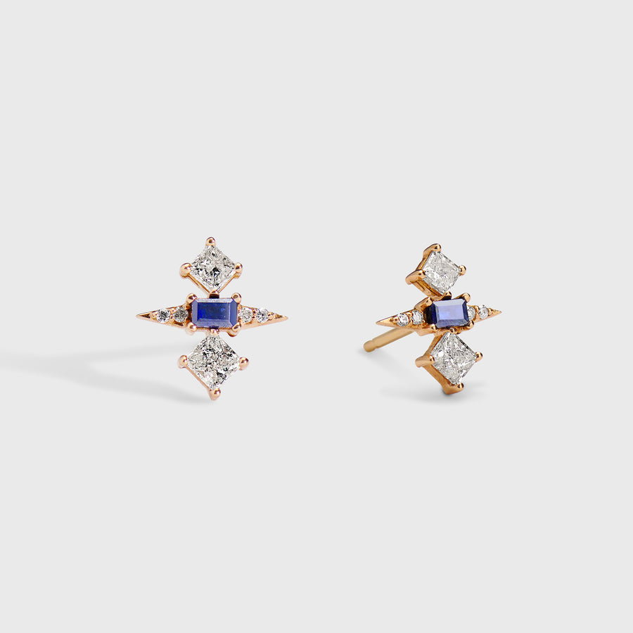Tanuja Sapphire and Diamond Studs Earrings