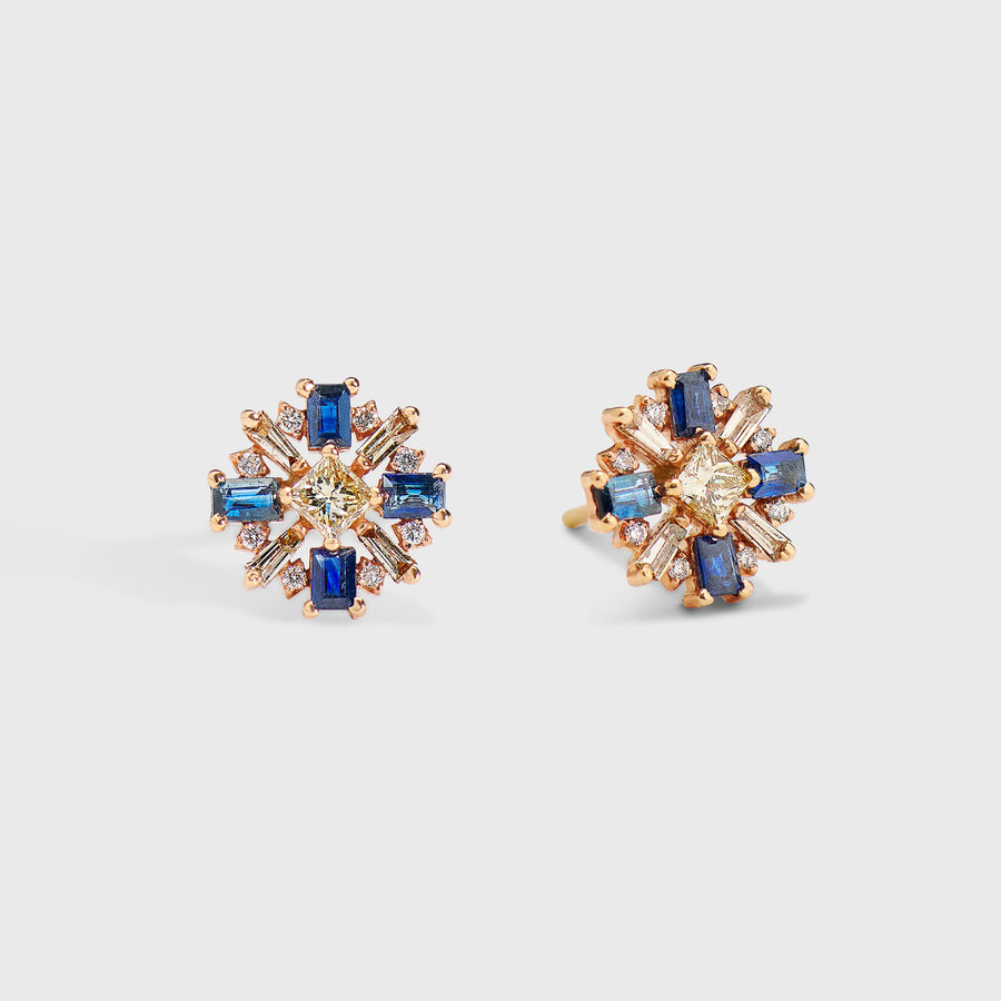 Dhruvi Sapphire and Diamond Studs Earrings