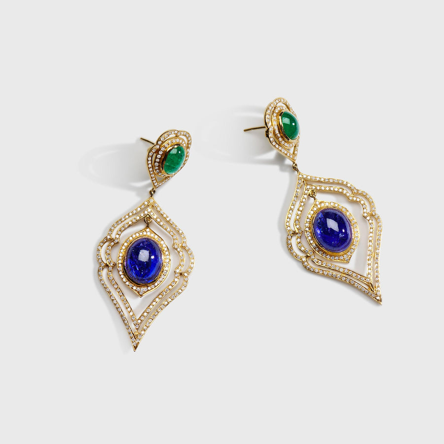 Abhijit Tanzanite and Emerald earrings