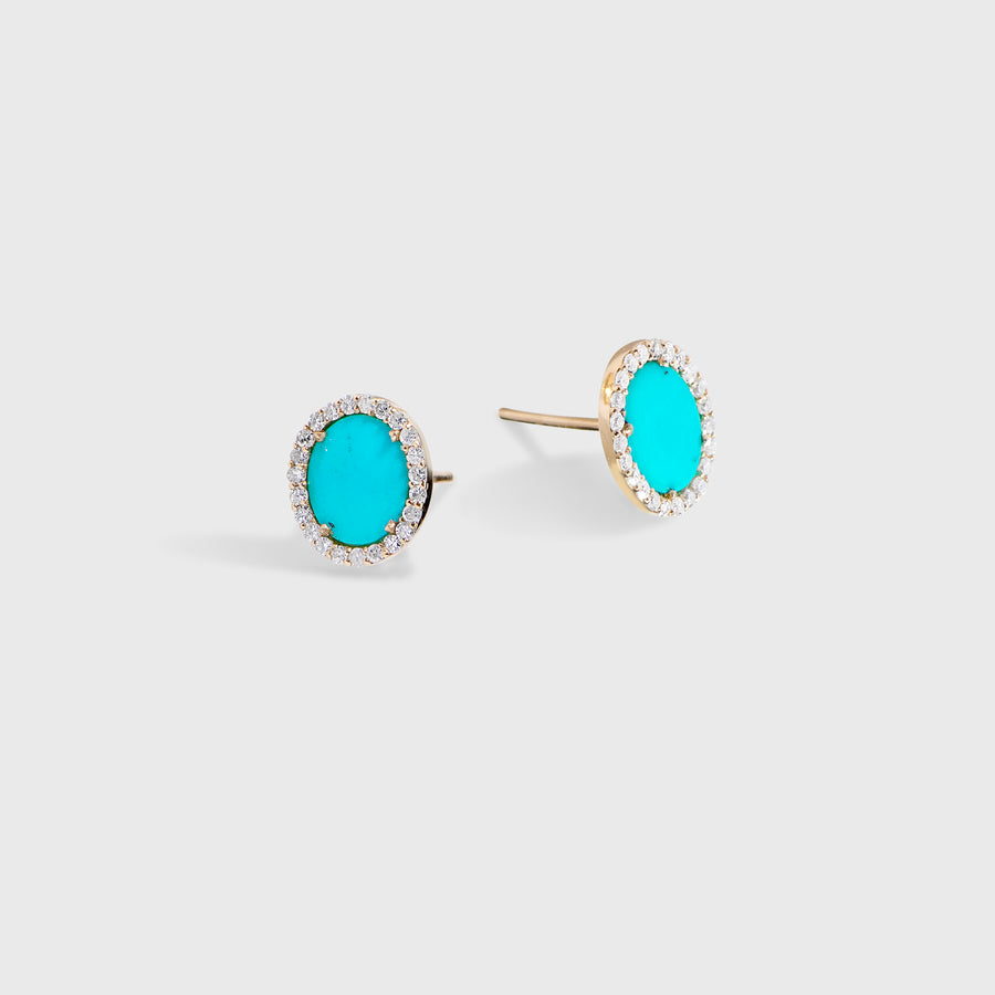 Tushar Turquoise and Diamond Studs Earrings