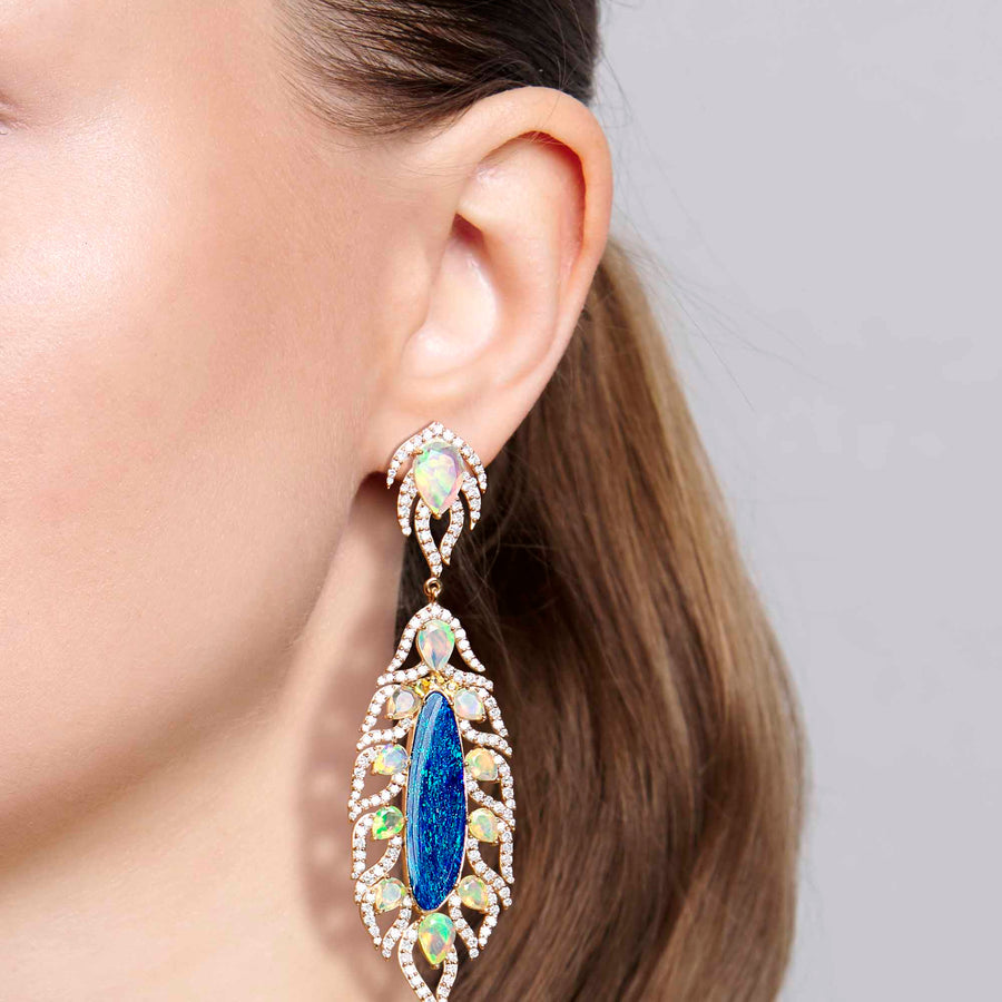 Zankhan Blue and White Opal Earrings