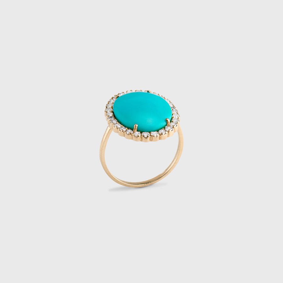 Tushar Large Turquoise and Diamond Ring