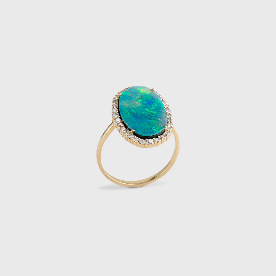 Abilash Opal and Diamond Ring